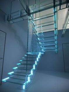 Get blown away by the full power of LED lighted glass stairs - See more at www.stairs-siller.com Glass Stairs Design, Staircase Design, Casa Magna, Stair Lighting, Can Lights, Corian, Room Setup, Light Up, Led
