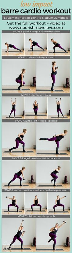 7 barre inspired exercises for a complete at home workout! Use light-to-medium dumbbells for this ballet inspired workout. Burn calories with these low impact but high intensity moves. Great for anyone with bad knees, runners who need an impact break, or Cardio Training, Strength Training Workouts, High Intensity Interval Training, Training Exercises, Cardio Barre, Hiit, Cardio Workouts, Barre Core, Exercise Routines