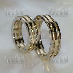 nr0069 Парные обручальные кольца с сапфирами на заказ (Вес пары: 19 гр.)
