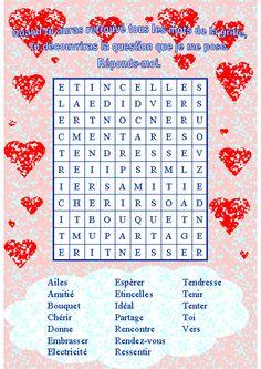 mot mystère Valentines Word Search, Valentine Words, Saint Valentine, Valentines Day Activities, Valentines For Kids, Valentine Crafts, Nursing Home Activities, Scrapbook, Birthdays