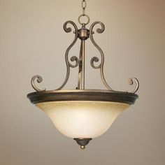 Bronze Over Iron 3-Light Bowl Pendant Light | LampsPlus.com
