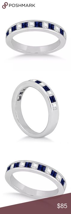 925SS blue & white Sapphire band size 6 925SS blue & white Sapphire band size 6 Jewelry Rings