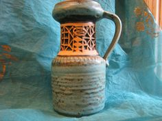 Vintage Modernist 1960s Vase – Jasba N 1011320 – Label – Relief Design Peter – German Mid Century Pottery – Turquoise Black White Fat Lava von everglaze auf Etsy