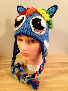 Crocheted My Little Pony Rainbow Dash Hat by HooksandNeedles2 on Etsy https://www.etsy.com/listing/209417037/crocheted-my-little-pony-rainbow-dash