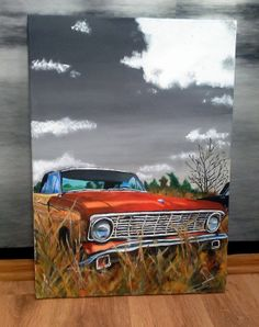 Hand Drawn painting of Vintage Car, 100% cotton canvas on frame