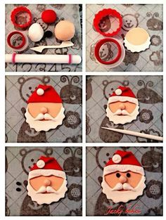 New cupcakes christmas fondant papa noel Ideas Christmas Cupcake Toppers, Christmas Cupcakes Decoration, Christmas Cake Designs, Fondant Decorations, Christmas Sweets, Christmas Cooking, Christmas Goodies, Christmas Cakes, Christmas 2019