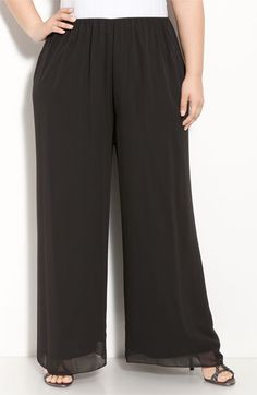 Alex Evenings Chiffon Palazzo Pants (Plus Size) available at #Nordstrom