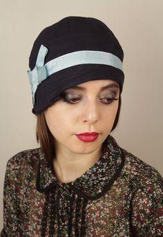 Navy cloche hat by Anna Chocola Brighton Milliner