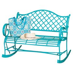 Take a seat on this lovely rocking bench to enjoy the fruits of your labors in the garden, or add it to the patio as a stylish spot for guests and visitors.
