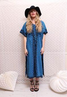 Vintage '90s Blue Boho Kaftan Maxi Dress