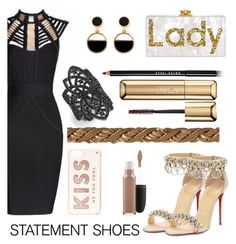 """""""Gold!"""" by florasart ❤ liked on Polyvore featuring Christian Louboutin, Posh Girl, Warehouse, nOir, Bobbi Brown Cosmetics, Guerlain, Kate Spade and MAC Cosmetics"""