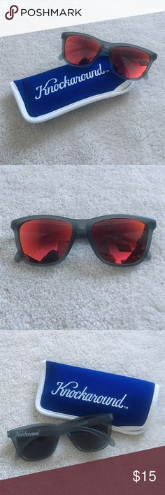 🆕Knockaround Premiums Grey frame with red sunset reflective lenses. Comes with case. Brand new, never used. No actual tags. No trades, no PayPal. Knockaround Accessories Sunglasses