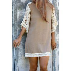 Wholesale Stylish Scoop Neck 3/4 Sleeve Tassels Lace Splicing Women's Dress Only $7.20 Drop Shipping | TrendsGal.com