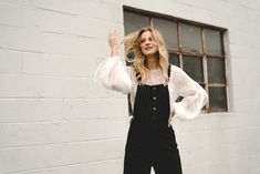 Outfit Combinations to Try This Week: Statement blouse and overalls. Shot by Rachael Dickens for @stylereportmag