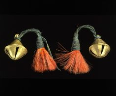 India | Ear ornaments with bells ~ Nung pen ~ from the Ao Naga people | 2nd half of the 19th century | Brass, dyed goat hair.