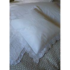 Crochet Edged White Cushion