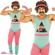 80s Fitness Instructor funny costume for men. Available in three sizes M, L or XL.