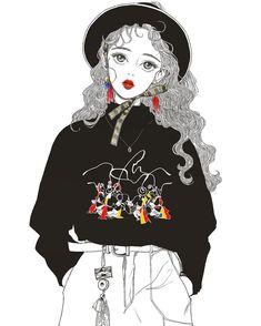 兴兴兴#낙서#그림#イラスト#drawing#sketch#illustration#일러스트#한복#생활한복#black