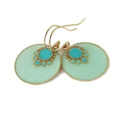 Round dangle Earrings  Light green mint and by SigalitAlcalai, $38.00  might spring for these!