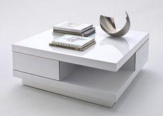 Couchtisch Weiß Hochglanz lackiert Schubladen 4771. Buy now at https://www.moebel-wohnbar.de/couchtisch-weiss-hochglanz-lackiert-schubladen-4771.html