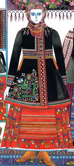 FolkCostume&Embroidery: Costume with Andarak, North Chernyhiw Province, Ukraine