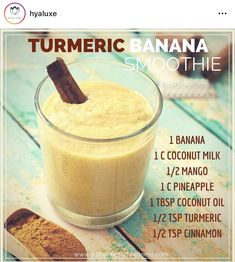 Here's another fun smoothie recipe for you! Turmeric has powerful anti-inflammatory antibacterial and anti-viral properties. It also helps to promote beautiful and healthy skin. - Margaux Authentic Self Wellness on FB Smoothie King, Smoothie Bowl, Turmeric Smoothie, Juice Smoothie, Smoothie Drinks, Healthy Smoothies, Healthy Drinks, Smoothie Recipes, Detox Drinks