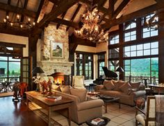 Discover Western decor living room ranch style 9 about Home Interior Design, Deck Design Ideas For House & How to Build Beautiful House from Westernerieideas Western Style, Rustic Western Decor, Rustic Feel, Rustic Wood, Cabin Homes, Log Homes, Stone Fireplace Designs, Fireplace Ideas, Luxury Houses