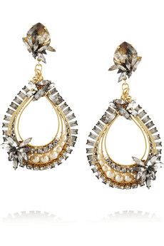 Erickson Beamon Stratosphere gold-plated, Swarovski crystal and faux pearl earrings | NET-A-PORTER