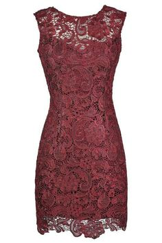 Burgundy lace dress. Beautiful! Lilybotique.com