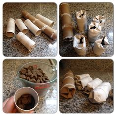 Instead of throwing away your empty toilet paper and paper towel rolls, save them for cheap enrichment for your dogs. Mental stimulation is so important for your dog. There are tons of interactive … Homemade Dog Toys, Diy Dog Toys, Pet Toys, Diy Puzzle Toys For Dogs, Diy Chew Toys For Dogs, Brain Games For Dogs, Dog Games, Toy Puppies, Dogs And Puppies