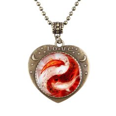 Find More Pendant Necklaces Information about 1pcs/lot Yin Yang Koi Logo Pendant Necklace Heart shaped Bronze Necklace Women Jewelry Love Gift DF90709,High Quality gifts her,China gift Suppliers, Cheap gifts computer from DreamFire Store on Aliexpress.com
