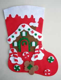 Felt Christmas Stocking - Bordados Oma Kit cortado listo para trabajar