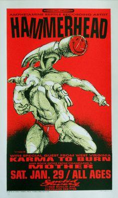 Mighty Mighty bosstones concert posters | 1994 Hammerhead w/ Karma to Burn (94-02) Poster by Derek Hess
