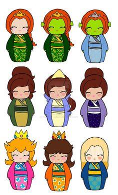 Forgotten Princesses - Fiona, Anya, Anastasia, Princess Peach - Mario, Princess Daisy - Mario & Princess Nuala - Hellboy II (by KaosHoneyBun @deviantART)