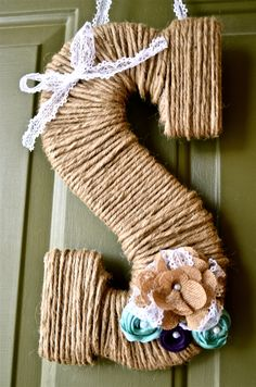 13 Twine Monogram Wreath with Customized Burlap and by rbirkel, $19.99