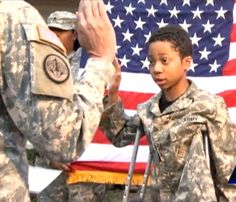Ten-year-old terminal cancer patient, Khalil Quarles was enrolled as an honorary member of the U.S. Army...this was his dream come true