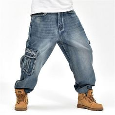 Hip Hop Mens Baggy Jeans Cargo Jeans with Multi Pockets