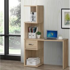 This multi-function modern cubby Beres Computer Desk with Hutch you the best storage arrangement for your home. Finished in a beautiful natural oak finish, this elegant desk also provides chic accenting. Home Bar Furniture, Furniture Deals, Country Furniture, Small Home Offices, Home Office Desks, Study Table Designs, Computer Armoire, Desk Storage, Luxury Home Decor