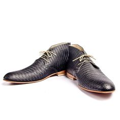 vintage inpired black textured leather desert boots by goodbyefolk