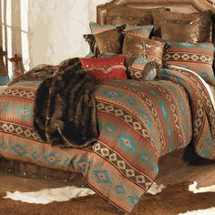 red, coral, turquoise and chocolate on the southwestern Canyon Shadows Bedding Collection