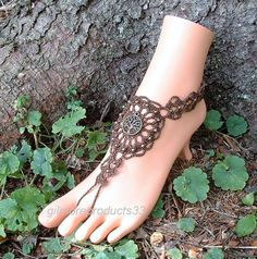 Brown Barefoot Sandal Tree of Life Anklet Foot Jewelry Ankle to Toe Bohemian Hippie Beach Wedding Bridal Womens Shoes