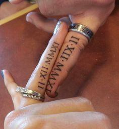 Roman numerals. Wedding date on ring finger! #tattoos #ink #bodyart