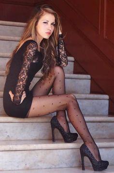 Black dress black tights black heels lace sleeves