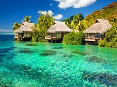 Tropical place - bungalow, clouds, crystal, emerald, exotic, green, holiday, island, nature, paradise, place, rest, sea, sky, tropical, tropics