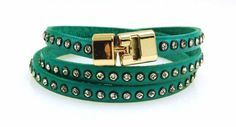 Triple T-Bar Bracelet Turquoise Crystal Leather