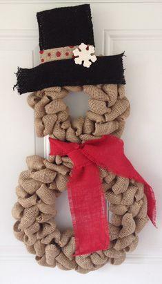 Snowman wreath - Burlap wreath - Christmas wreath - Snowman burlap wreath…