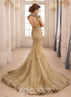 Ericdress High Neck Mermaid Appliques Backless Lace-up Evening Dress