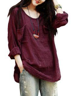 Only US$15.99 , shop  Gracila Vintage Women Pockets Pure Color Loose Long Sleeve Cotton Blouse at Banggood.com. Buy fashion Blouses online.