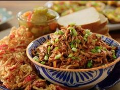 Get Slow-Cooker Pulled Pork with Fried Shallots and Chiles Recipe from Food Network Slow Cooker Bbq, Slow Cooker Recipes, Crockpot Recipes, Bbq Pork, Pork Ribs, Carolina Pulled Pork, Fried Shallots, Food Shows, Crock Pot Cooking