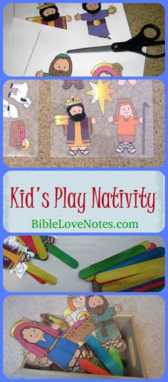 "This easy to make children's play nativity starts with a free printable from makingfriends. I put them on sticks so they could easy ""perform"" as puppets. Preschool Christmas, Toddler Christmas, Christmas Nativity, Christmas Activities, Christmas Crafts For Kids, A Christmas Story, Christmas Fun, Holiday Fun, Xmas"